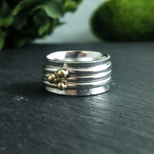 925 silver spinner ring with gold nuggets