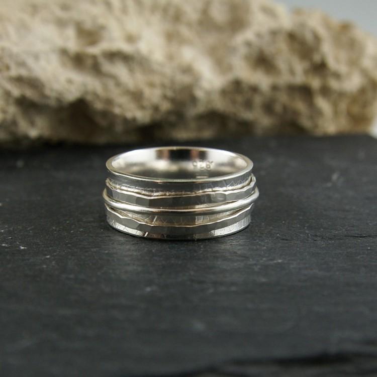 Bague de méditation en argent sterling avec trois anneaux