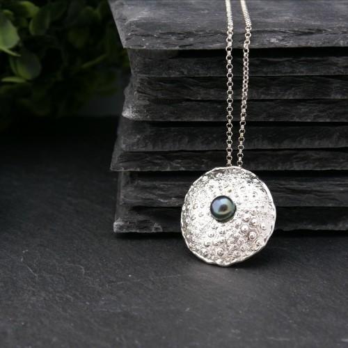 Big Sea Urchin pendant with black pearl