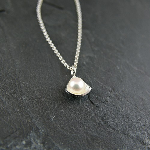 Triangle white Pearl pendant