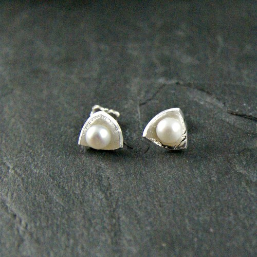 Triangle White Pearl Earrings